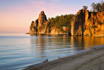 Sunrise in Sandy Bay on south of lake  Baikal