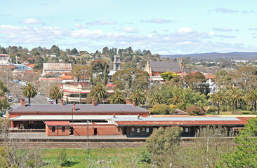 CASTLEMAINE, VICTORIA, AUSTRALIA - September 5, 2015: The Castlemaine railway station (1862) is located on the Bendigo line and has three operational platforms