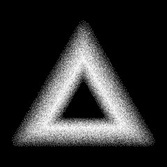 Stippled  triangle for design project on black   - vector illustration
