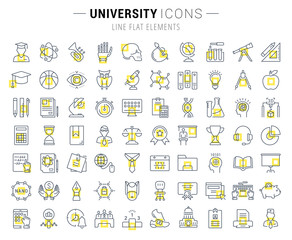 Set Vector Flat Line Icons University