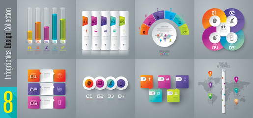 Infographic design vector and business icons with 3, 4, 5 and 6 options.