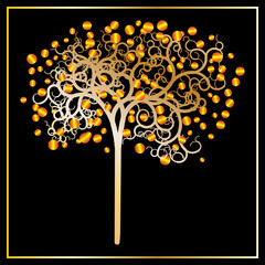 Curl tree with gold apples - vector illustration
