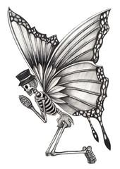 Skull fairy surreal. Art design skull fairy surreal fantasy hand pencil drawing on paper.