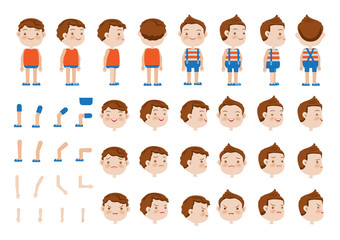 Boys character creation set. Icons with different types of faces and hair style, emotions,  front, rear, side view of male person. Moving arms, legs. Vector illustration