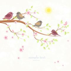 greeting card with enamored birds on branch of sakura