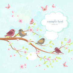 cute greeting card with enamored birds on branch of sakura and b
