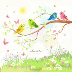 lovely greeting card with birds on branch tree and butterflies