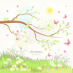 summer rustic scenery with branch of tree and flying butterflies