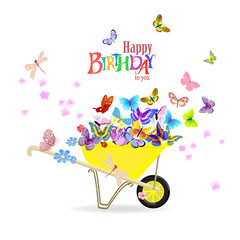 happy invitation card with wheelbarrow of butterflies for your d