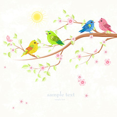 invitation card with enamored colorful birds on branch of tree