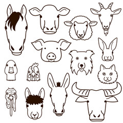 cute farm animal faces line art set