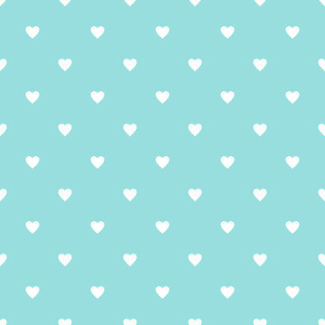 Valentine pattern seamless heart vector EPS.10. Simple white hearts on green aqua water color background.