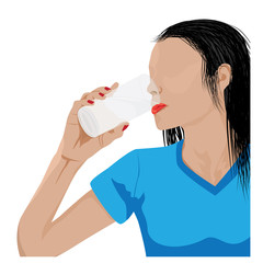 lady drinking water vector design