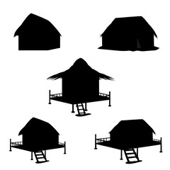 silhouettes hut vector design