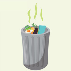 Garbage Can With Rotting Food Isolated Vector