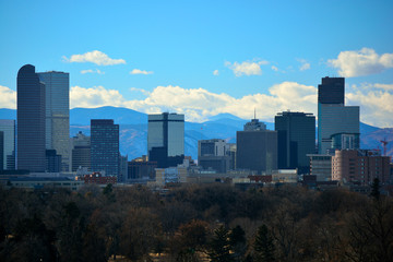 Downtown Denver, Colorado Skyscrapers with the Rocky Mountains in the Background