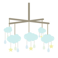 Baby Mobile with Clouds, Stars and Drops