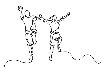 continuous line drawing of happy jumping couple