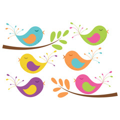Birds on Branches Vector Clip Art Set