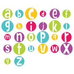 Fun Bright Vector Alphabet Letters in Circles
