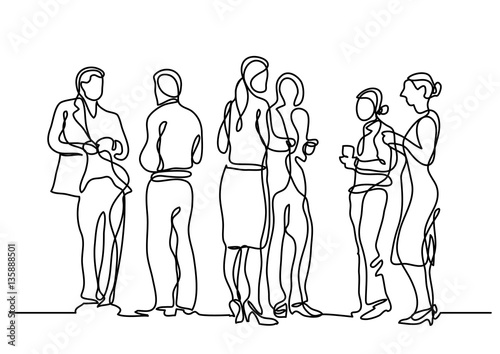 Line Art Person : Quot continuous line drawing of office party stock