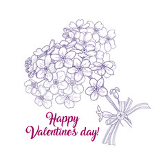 A bouquet of wildflowers in the shape of a heart, tied with ribbon. Romantic greeting card for Valentine's day. Vector illustration in vintage style isolated on white background.