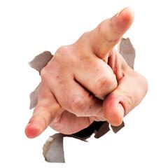 Devil hand sign breaking through torned paper