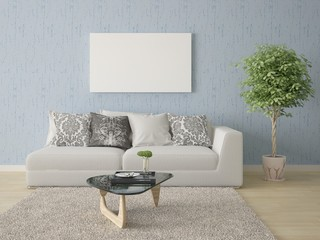 Mock up poster with a compact sofa on a blue background.