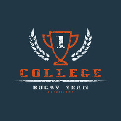 College rugby team badge with shabby texture