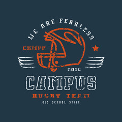 Rugby campus team badge with shabby texture