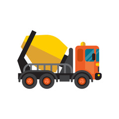 Concrete mixer truck cement industry equipment machine vector.