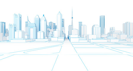 low poly wireframe white city 3d rendering