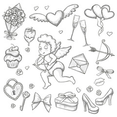 Set of Valentine's Day icons. Monochrome sketch style Valentine's Day illustration for decoration. Vector.
