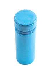 Cylindrical pencil case isolated