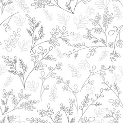 Plain background with small plants and leaves. Floral ornament in the style of the sketch lines Vector seamless background scrapbooking idea Shabby Chic