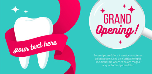 Grand opening horizontal banner. New dental department is opening. Dentistry concept. Vector flat style illustration