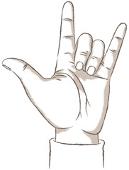 Love Hand Sign, retro. Vector illustration of a hand showing the I Love You sign, or Rock sign. Retro look illustration with a rough texture.