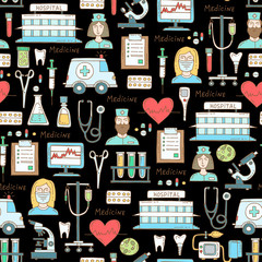 Vector pattern with hand drawn colored symbols of hospital, pharmacy on black color. Pattern on the theme of medicine, medical equipment