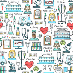 Vector pattern with hand drawn colored symbols of hospital, pharmacy. Pattern on the theme of medicine, medical equipment