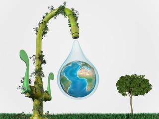 Goutte d'eau planète concept nature et écologie