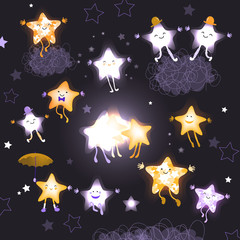 Stars in the night sky. Set of cute cartoon characters for design of websites, postcards, printed materials, advertising. Abstract background. Hand drawn vector illustration
