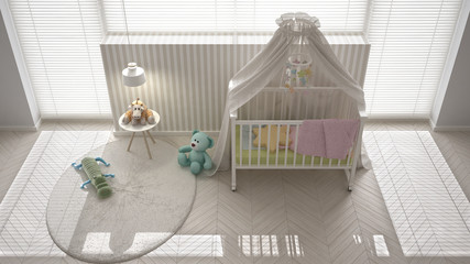 Scandinavian white child bedroom with canopy crib, minimal inter
