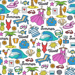 Pattern with hand drawn colored symbols of recreation. Pattern on the theme of summer, travel, tourism