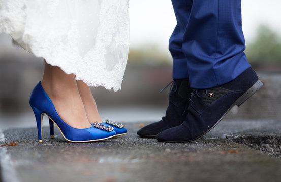 Beautiful blue wedding shoes bride