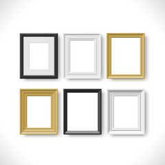 blank picture frames on white background set