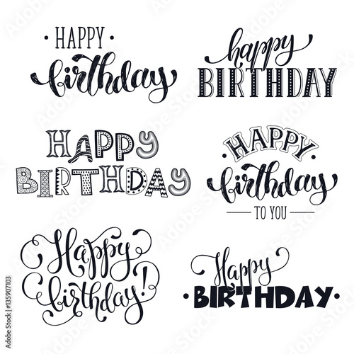 """Hand Written Happy Birthday Phrases. Greeting Card Text"