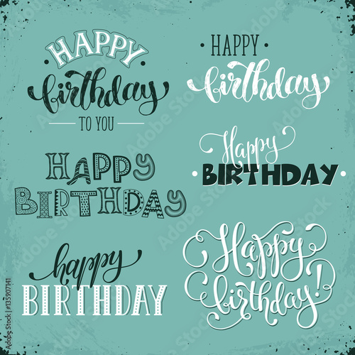 Hand written happy birthday vintage phrases greeting card text hand written happy birthday vintage phrases greeting card text templates on retro background happy bookmarktalkfo Image collections