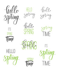 "Set of calligraphic signs. ""Hello spring"" phrase."