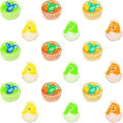 easter eggs in a basket pattern