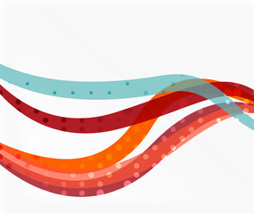 Color overlapping wave stripes, vector abstract background.